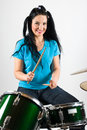 Beautiful drummer woman Stock Photo