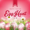Beautiful Easter Red Background with flowers and colored eggs in the grass