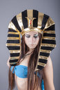 Beautiful egyptian woman like cleopatra portrait of Royalty Free Stock Photos