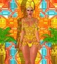 Beautiful Egyptian woman posing in sheer gold star top and bikini bottom Royalty Free Stock Photo