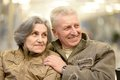 Beautiful elderly couple portrait of outdoor closeup Stock Photos