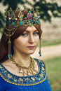 Beautiful Eleanor of Aquitaine, duchess and queen of England and France on High Middle Ages. Royalty Free Stock Photo