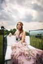 Beautiful elegant lady in nature Royalty Free Stock Photo
