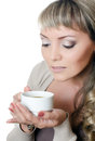Beautiful elegant woman with a coffee cup Stock Photos