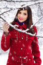 Beautiful elegant woman in red coat Royalty Free Stock Photo