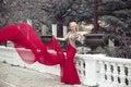 Beautiful elegant woman wearing in long mermaid fluttering fashi Royalty Free Stock Photo