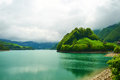 Beautiful emerald mountain lake in Switzerland Royalty Free Stock Photo