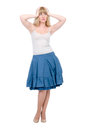 Beautiful emotional blonde in a dark blue skirt Royalty Free Stock Photos