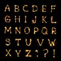 Beautiful english alphabet of Burning sparkler letters Royalty Free Stock Photo