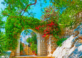 Beautiful entry iron made outdoor of an old house in hydra island in greece Stock Photo