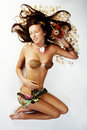 Beautiful exotic girl lying Royalty Free Stock Photo
