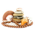 Beautiful exotic shell and stones, pearls Royalty Free Stock Photos