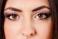 Beautiful eyes close up portrait of caucasian girl with Stock Photography