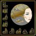 Beautiful face of girl with golden hair and beauty cosmetics ico
