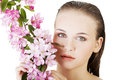 Beautiful face of spa woman with healthy clean skin and pink flowers isolated on white Stock Image