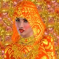Beautiful face under orange hood a stands out from an and against an textured background adorned in silk this mystical Royalty Free Stock Images