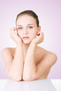 Beautiful face of woman with healthy clean skin spa Royalty Free Stock Image