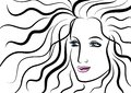 Beautiful face of woman with wavy hair Royalty Free Stock Photos