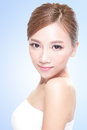 Beautiful face of young adult woman with clean fresh blue background asian Royalty Free Stock Photo