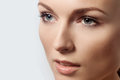 Beautiful Face Young Woman Clean Fresh Skin close up Royalty Free Stock Photo