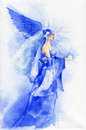 Beautiful fairy in blue watercolor painting Stock Photos