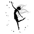Beautiful fairy silhouette she dancing holding in hand the magic wand illustration on a white background Stock Photos