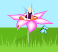 Beautiful fairy a sitting on a flower Royalty Free Stock Photos