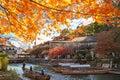 Beautiful fall season of maple and river, Arashiyama, Japan