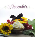 Beautiful Fall Thanksgiving theme cupcake with seasonal flowers and decorations for the month of November Royalty Free Stock Photo