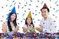 Beautiful family celebrate child birthday