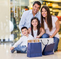 Beautiful family shopping mall looking very happy Royalty Free Stock Photography
