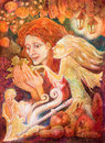 Beautiful fantasy drawing of a autumn woman with red hair