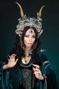 Beautiful fantasy elf woman in flower crown