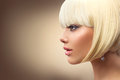 Beautiful fashion blonde woman with bob haircut Royalty Free Stock Photo