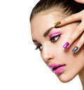 Beautiful fashion girl s face make up and manicure Stock Photography