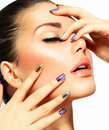 Beautiful fashion girl s face make up and manicure Stock Images