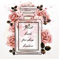 Beautiful fashion illustration with pink perfume glass bottle an Royalty Free Stock Photo