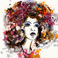 Beautiful fashion illustration in watercolor style with portrait