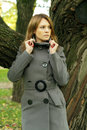 Beautiful fashion woman in fashionable coat season Royalty Free Stock Photos