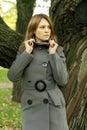 Beautiful fashion woman in fashionable coat season Royalty Free Stock Photos