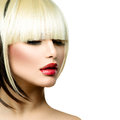 Beautiful fashion woman hairstyle for short hair fringe haircut Stock Photography