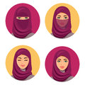 Beautiful fashion young arab woman icons set.Set four Arab girls in different traditional headdresses. Isolated. Vector. Royalty Free Stock Photo
