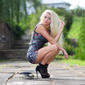 Beautiful fashionable blonde in high heels learn skateboarding. Royalty Free Stock Photo
