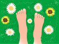 Beautiful feet on the grass Royalty Free Stock Photography