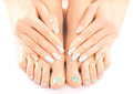 Beautiful feet with turquoise pedicure isolated closeup photo of a and manicure Stock Image