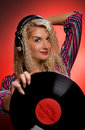 Beautiful female DJ Stock Image