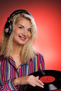Beautiful female DJ Stock Photography