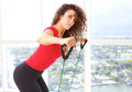 Beautiful female doing resistance training with copy space Royalty Free Stock Photos