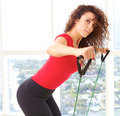 Beautiful female doing resistance training with copy space Royalty Free Stock Image