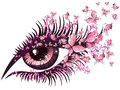 Beautiful female eye with butterflies Stock Photo